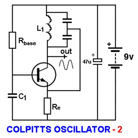 colpitts oscillator capacitor values basic electronics 1a