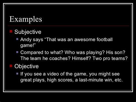 Subjective Essay Exle subjective vs objective writing