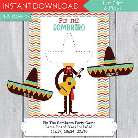 mexican themed games pin the sombero fiesta printable party game 3 sizes cinco