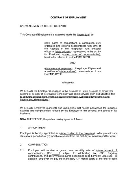 employers contract template contract of employment probationary employee