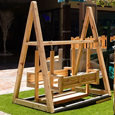 bench swing frame swings wooden elements