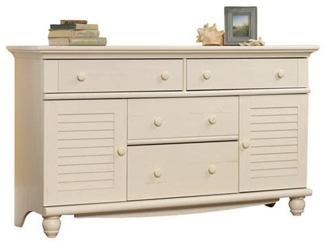 white bedroom dressers chests sauder harbor view dresser in antiqued white