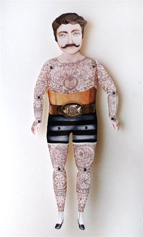 Tattoo Paper Dolls | victorian tattooed tough guy paper puppet tattoo