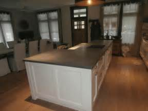 concrete kitchen island raised bar countertop custom