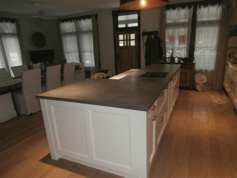 concrete kitchen island raised bar countertop brooks custom
