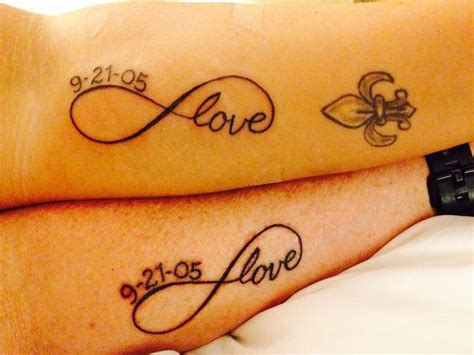 couples tattoo infinity with anniversary date tattoo