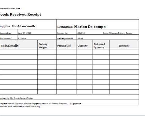delivery receipt template update 41778 delivery document template 30 documents
