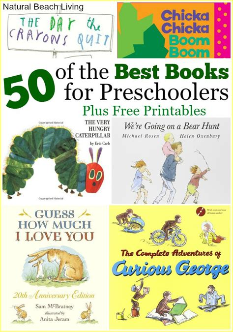 50 Best Books For Preschoolers Free Printables Natural Beach Living Free Printable Preschool Books