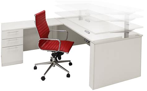 Office Desk Adjustable Height Adjustable Height U Shaped Executive Office Desk W Hutch In White