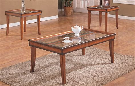 distressed walnut classic 3pc coffee table set w glass tops