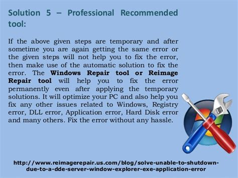 apply to fixer fix unable to shutdown due to a dde server window explorer exe appl