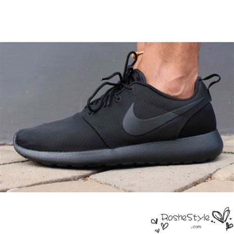 nike roshe run mesh all black mens womens shoes