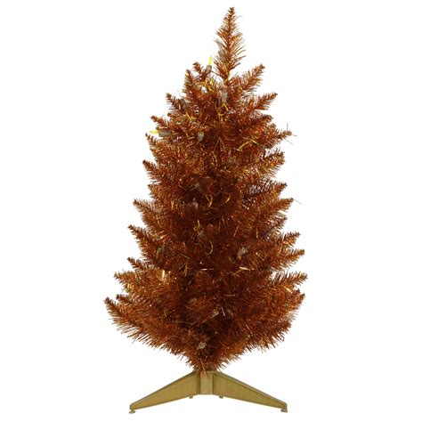 3 ft copper slim pencil christmas tree unlit 36 quot narrow