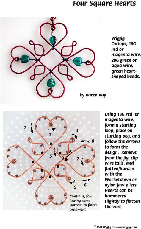 Four Square Wire and Beads Hearts   Pg 1 Made with WigJig Jewelry Making Tools, Beads and Supplies