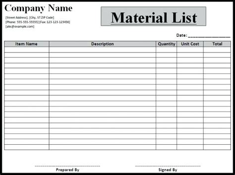 bill of materials spreadsheet template bill of materials template bill materials template