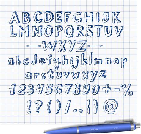doodle pen font doodle sketch font with blue pen stock vector