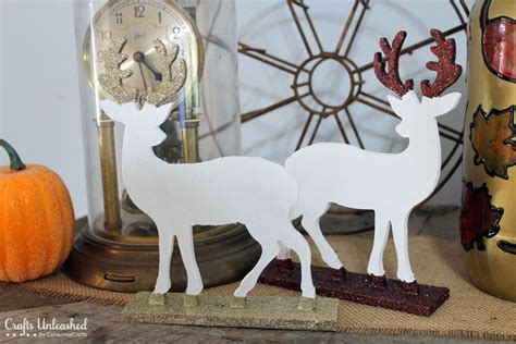 christmas decorations with deer head pic deer decor glitter dipped figurine tutorial