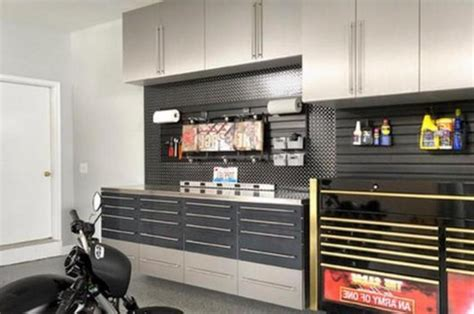 Garage Interior Ideas by Aluminum Rack And Modern Cabinet For Small Garage Interior