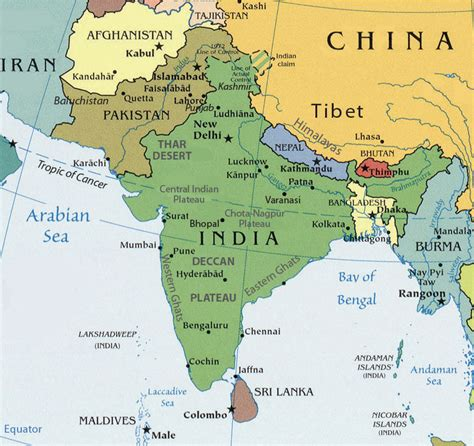 south central asia physical map south asia