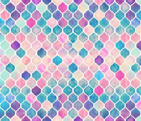 pink moroccan pattern rainbow pastel watercolor moroccan pattern fabric