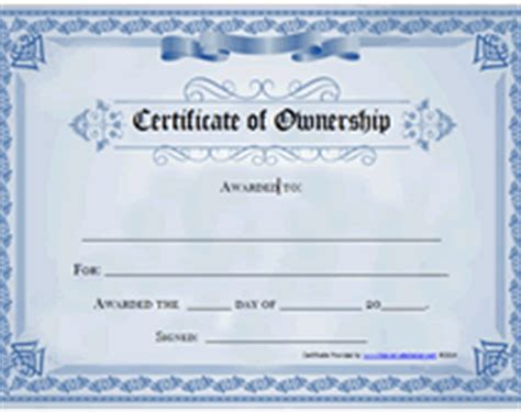 Certificate Of Ownership Template blank certificate pdf files search results calendar 2015