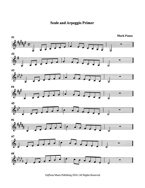 scale patterns and arpeggio primer for trumpet by ponzo