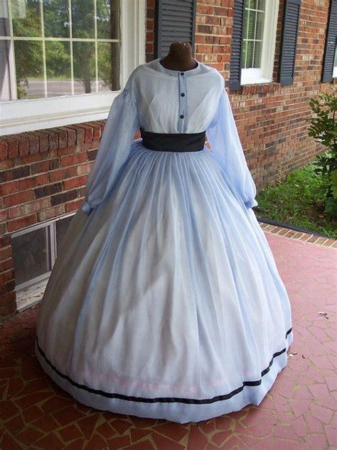 Bj 1880 Blue Sleeveless Dress soft blue semi sheer civil war dress or gown medium to