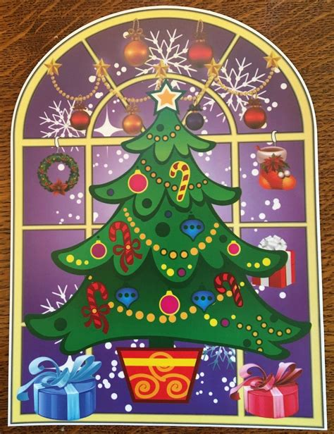 christmas tree window clings 4 stained glass window clings stickers santa snowman tree