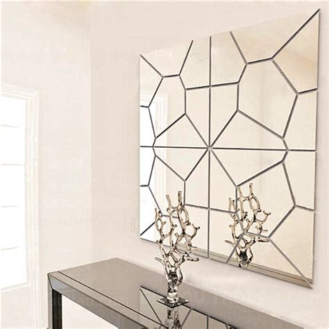 wall sticker mirrors 7pcs 2 colors geometry mirror wall sticker moire pattern mural decal home decor alex nld