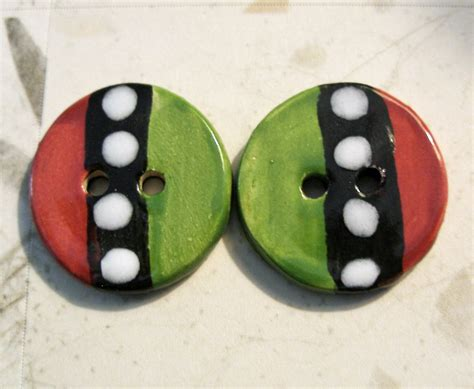 Handmade Ceramic Buttons - handmade ceramic buttons 2 buttons on luulla