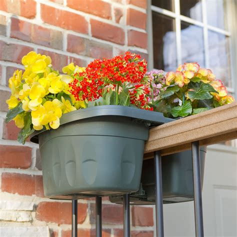 Balcony Planter Boxes For Railings by The Adjustable Balcony Rail Planter Hammacher Schlemmer