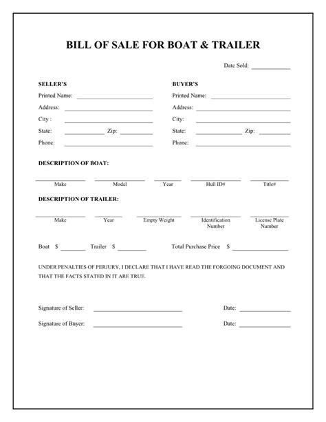 boat bill of sale agreement free boat trailer bill of sale form download pdf