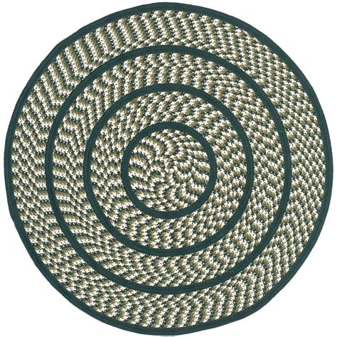 round accent rug safavieh braided ivory dark green 4 ft x 4 ft round area