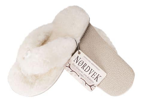 Bedroom Slippers Womens nordvek ladies genuine sheepskin flip flop slippers thongs