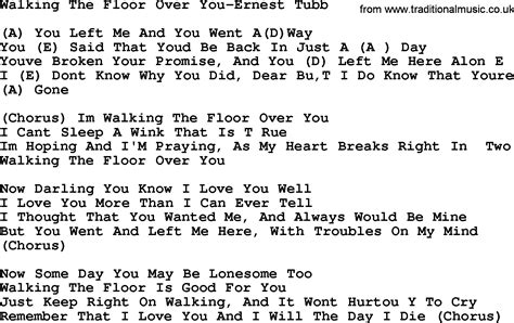 walking the lyrics country walking the floor you ernest tubb lyrics and chords