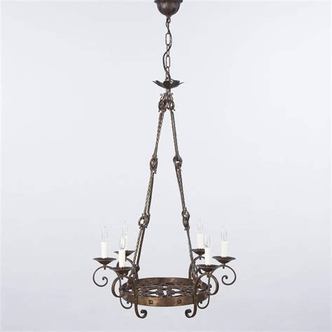 French Gothic Revival Black Wrought Iron Chandelier Circa Black Rod Iron Chandelier