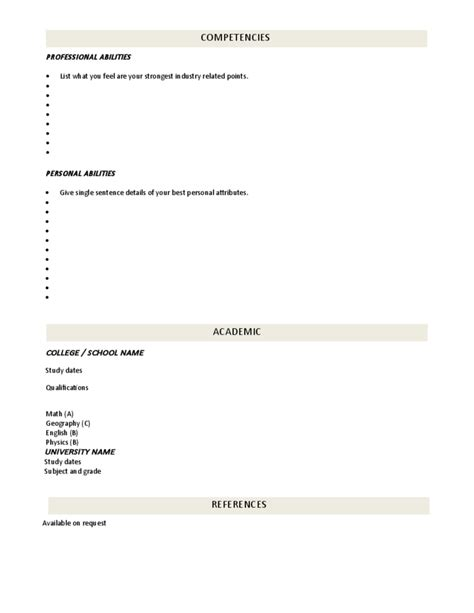 cv blank template blank cv template professional position free