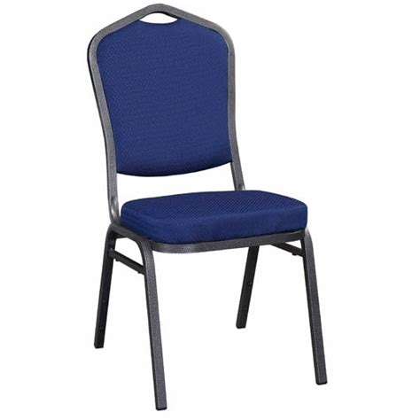 metal stack chair silver vein frame finish  blue  fabric