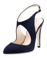 Miss Selfridges Blue Suede Sling Back by Lyst Giorgio Armani Suede Cutout Slingback Pumps In Blue