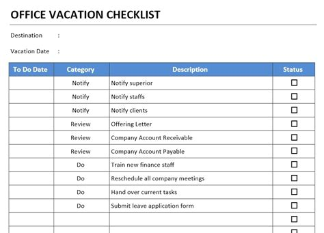 office templates office vacation checklist template free microsoft word