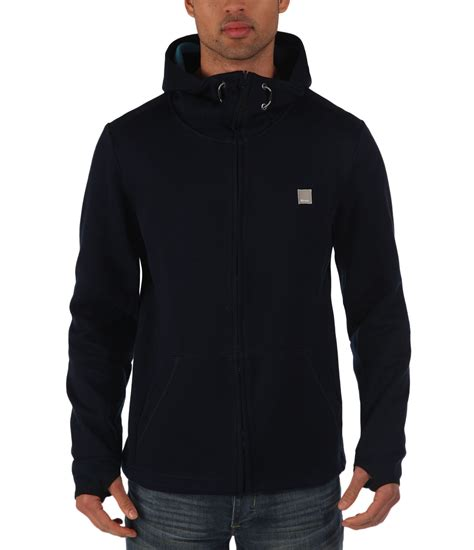 bench for men bench assertive plain zip thru hoodie in blue for men lyst