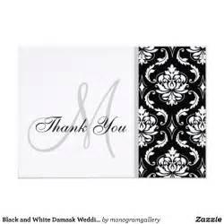 black and white damask wedding thank you card zazzle