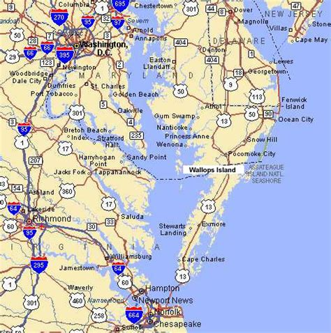 map maryland delaware beaches nasa wallops flight facility