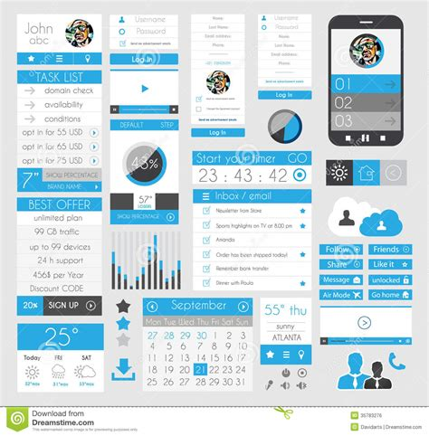 flat design ui elements ui flat design elements for web infographics royalty