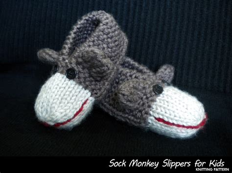 sock monkey house shoes sock monkey slippers for kids knitting pattern on luulla