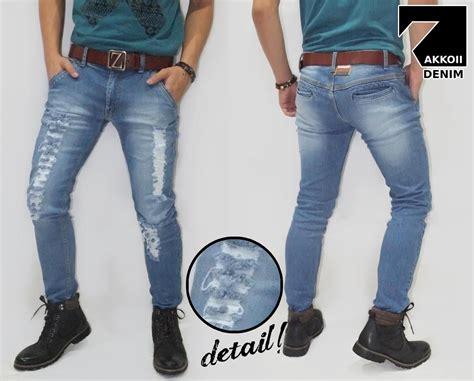 Celana Denim Pria Terbaru Celana Pria Murah Dan Keren E 286 jual celana pria murah model sobek ripped kakkoii blue