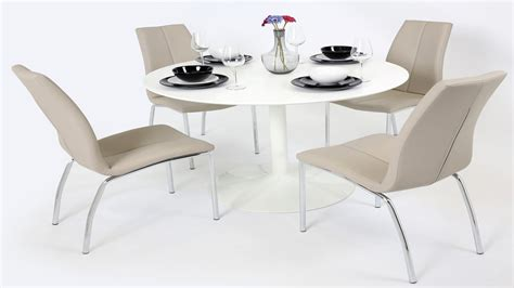 White Dining Table Grey Chairs White Gloss Dining Table And 4 Mink Grey Chairs Homegenies