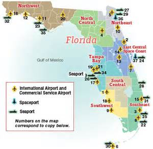 map of florida airports and seaports business florida