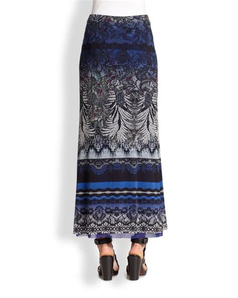 Dress Batik Slimmer 121 Blue 1 Fuzzi Slim Batik Print Maxi Skirt In Blue Lyst