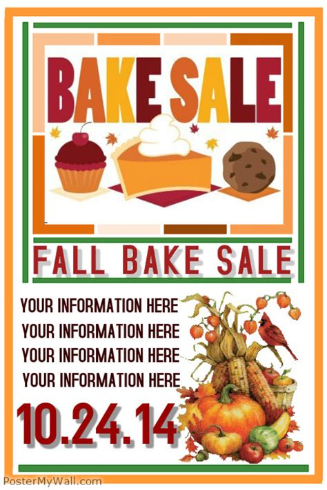 Fall Bake Sale Template Postermywall Bake Sale Flyer Template